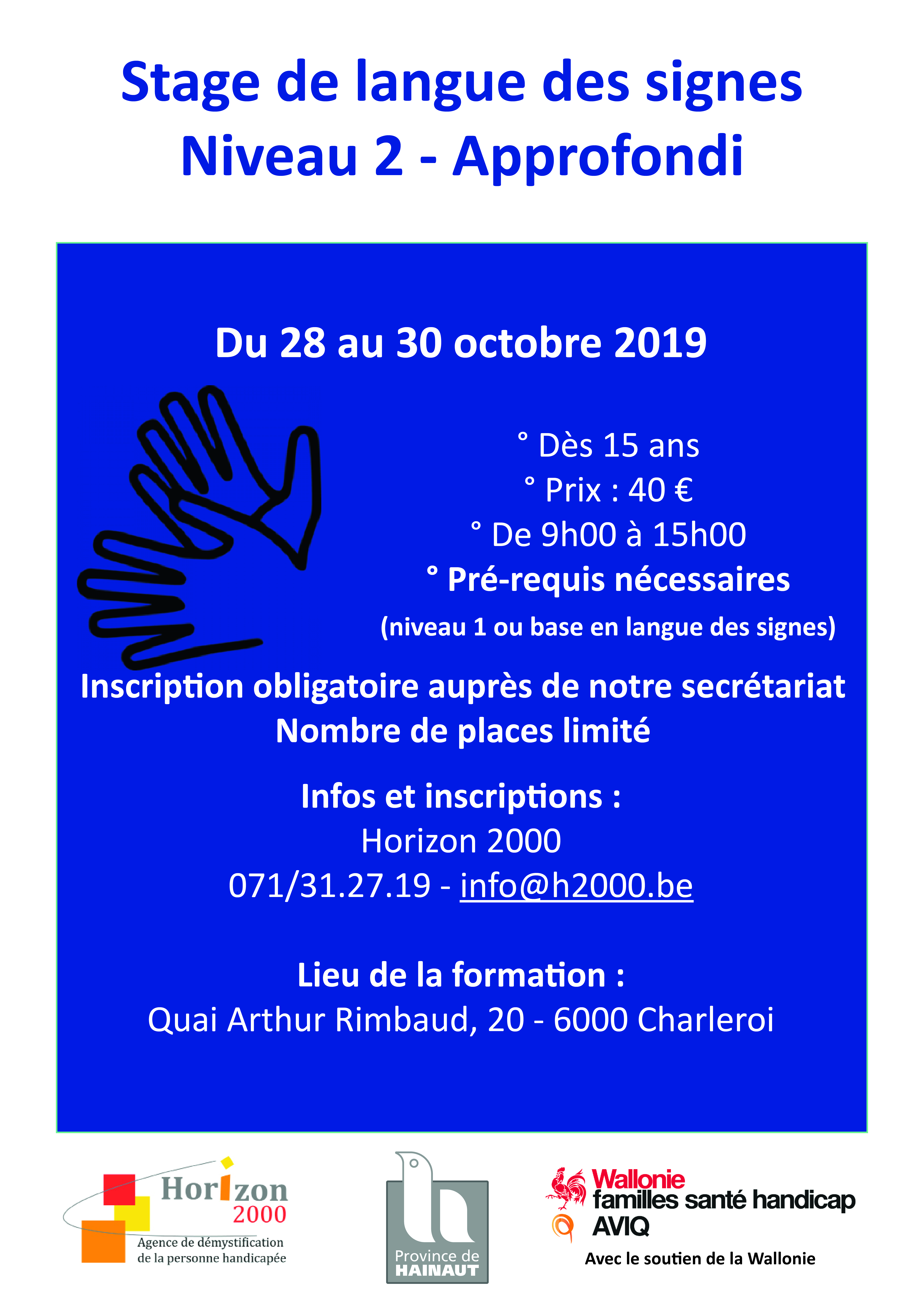 affiche stage lsfb approfondi octobre 2019
